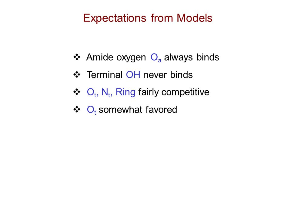 Expectations from Models  Amide oxygen O a always binds  Terminal OH never binds  O t, N t, Ring fairly competitive  O t somewhat favored