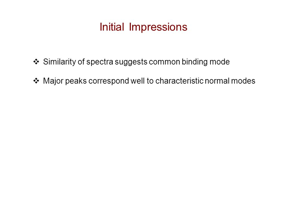 Initial Impressions  Similarity of spectra suggests common binding mode  Major peaks correspond well to characteristic normal modes