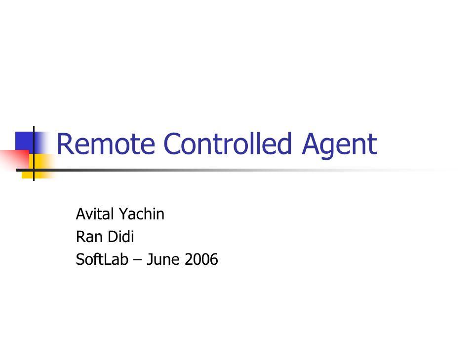 Remote Controlled Agent Avital Yachin Ran Didi SoftLab – June 2006