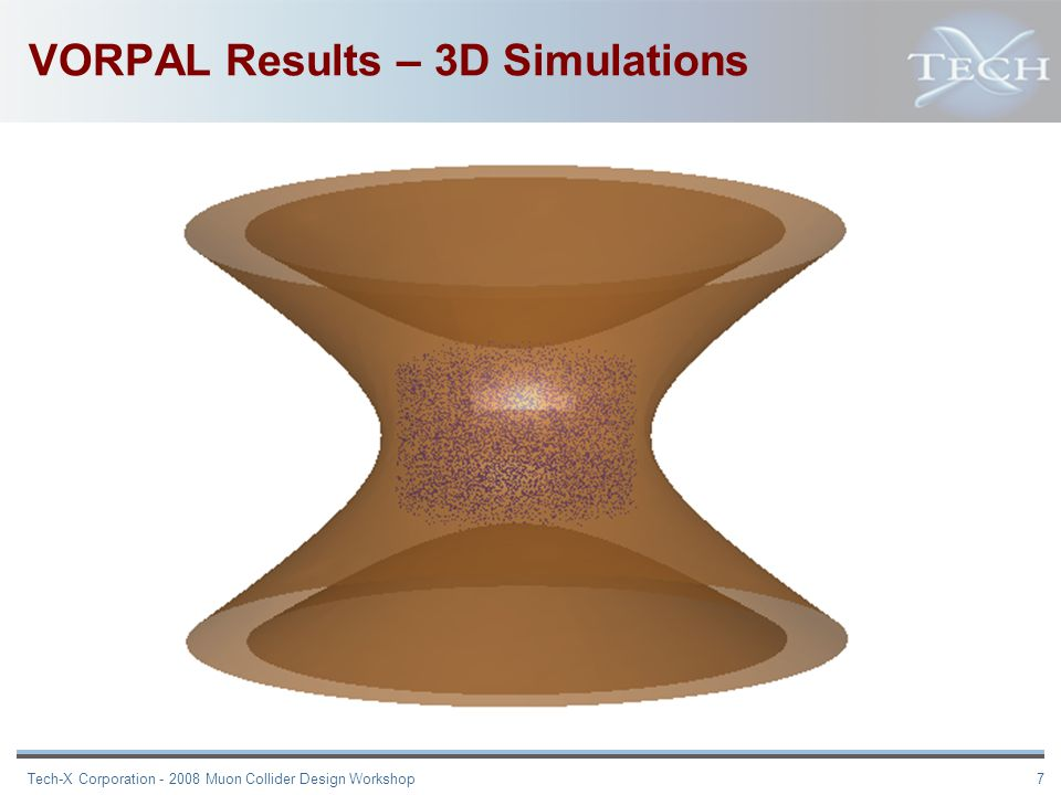 Tech-X Corporation - 2008 Muon Collider Design Workshop 7 VORPAL Results – 3D Simulations