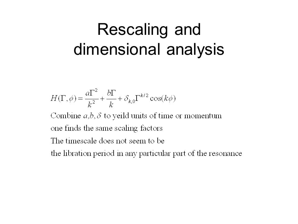 Rescaling and dimensional analysis