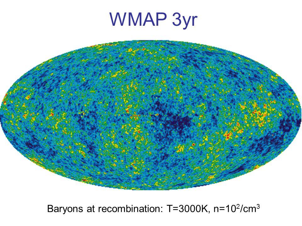 WMAP 3yr Baryons at recombination: T=3000K, n=10 2 /cm 3