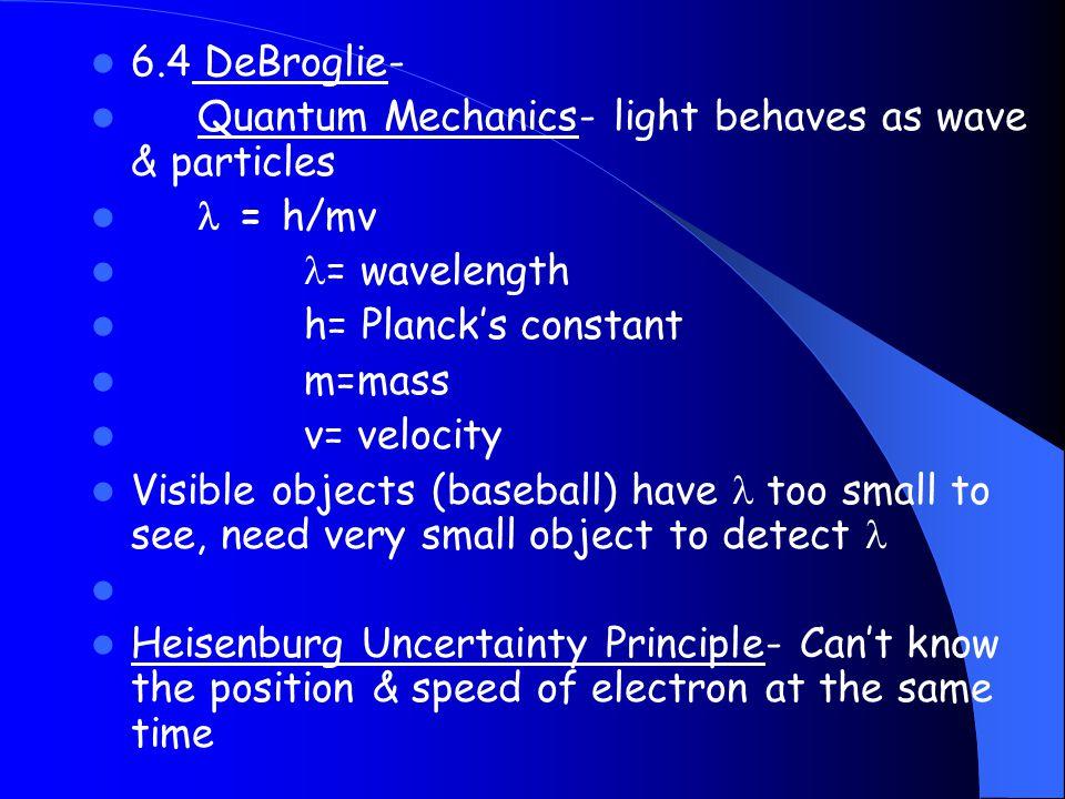 6.4 DeBroglie- Quantum Mechanics- light behaves as wave & particles = h/mv = wavelength h= Planck's constant m=mass v= velocity Visible objects (baseb