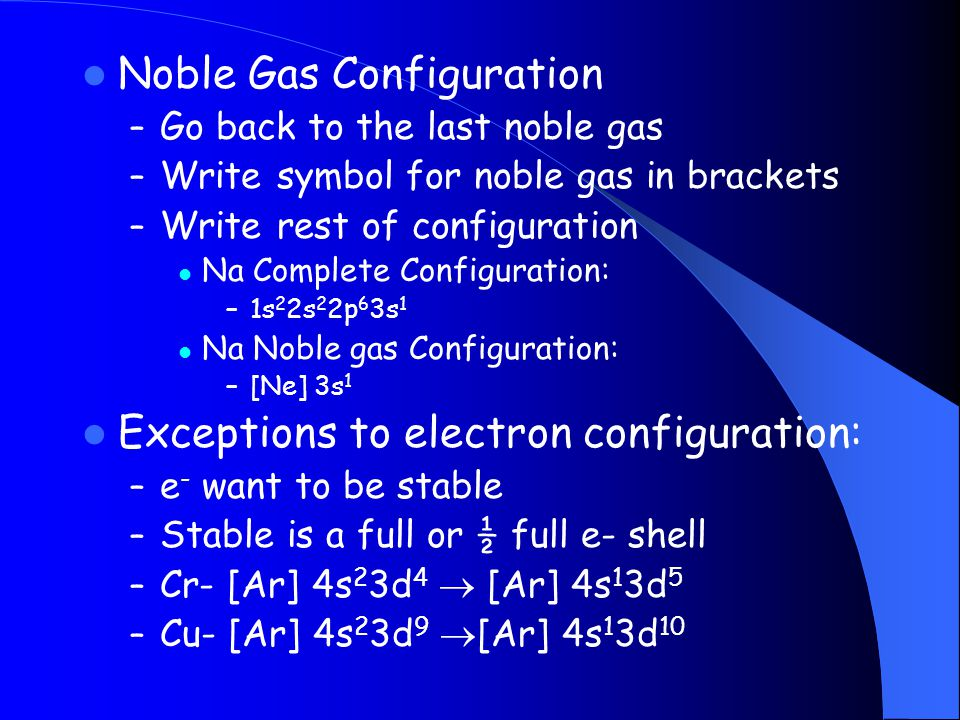 Noble Gas Configuration – Go back to the last noble gas – Write symbol for noble gas in brackets – Write rest of configuration Na Complete Configurati