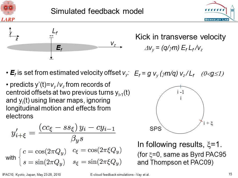 IPAC10, Kyoto, Japan, May 23-28, 2010 E-cloud feedback simulations - Vay et al.