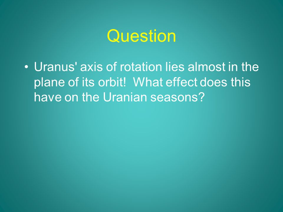 Question Uranus axis of rotation lies almost in the plane of its orbit.
