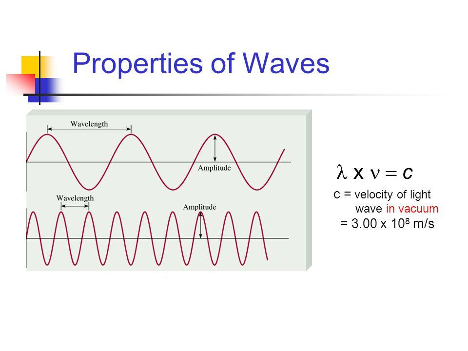 Properties of Waves c = velocity of light wave in vacuum = 3.00 x 10 8 m/s x  c