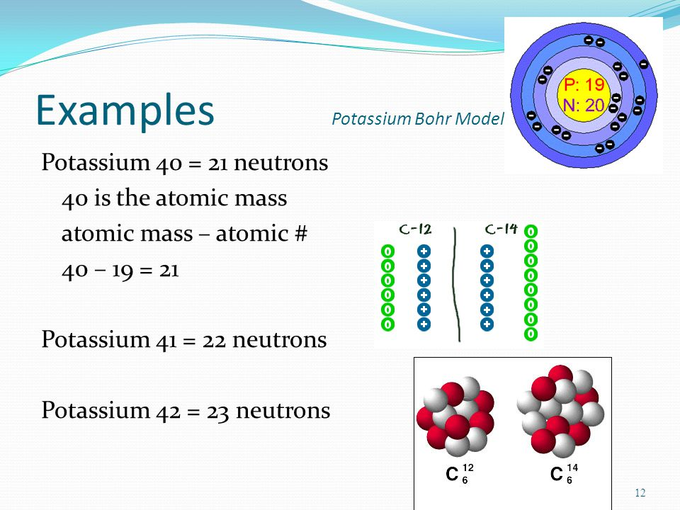 11 Isotopes—atoms of the same element with different #s of neutrons Atomic mass is the ave.