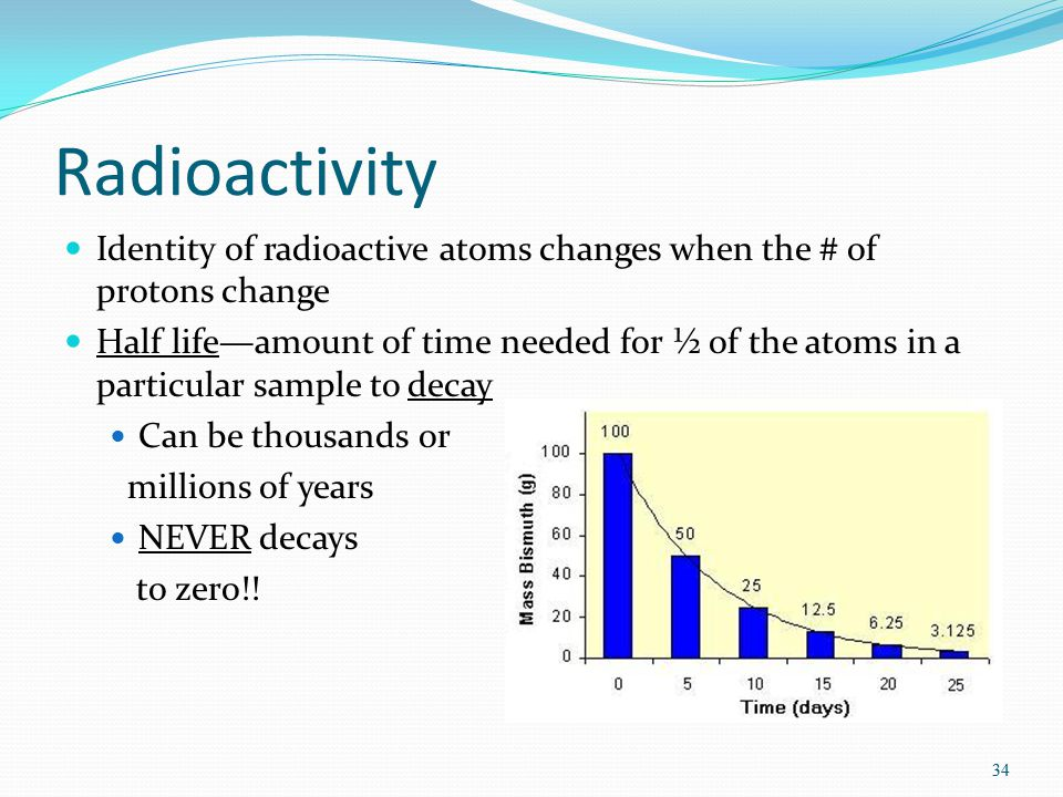 33 Some atoms can change their identities Radioactive decay Atomic nucleus is held together by forces Sometimes there can be too many or too few neutrons so these forces cannot hold it together properly To regain stability, the nucleus will produce particles & eject them 33