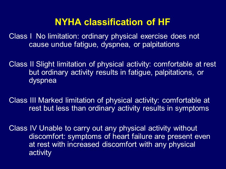 NYHA classification of HF Class I No limitation: ordinary physical exercise does not cause undue fatigue, dyspnea, or palpitations Class II Slight lim