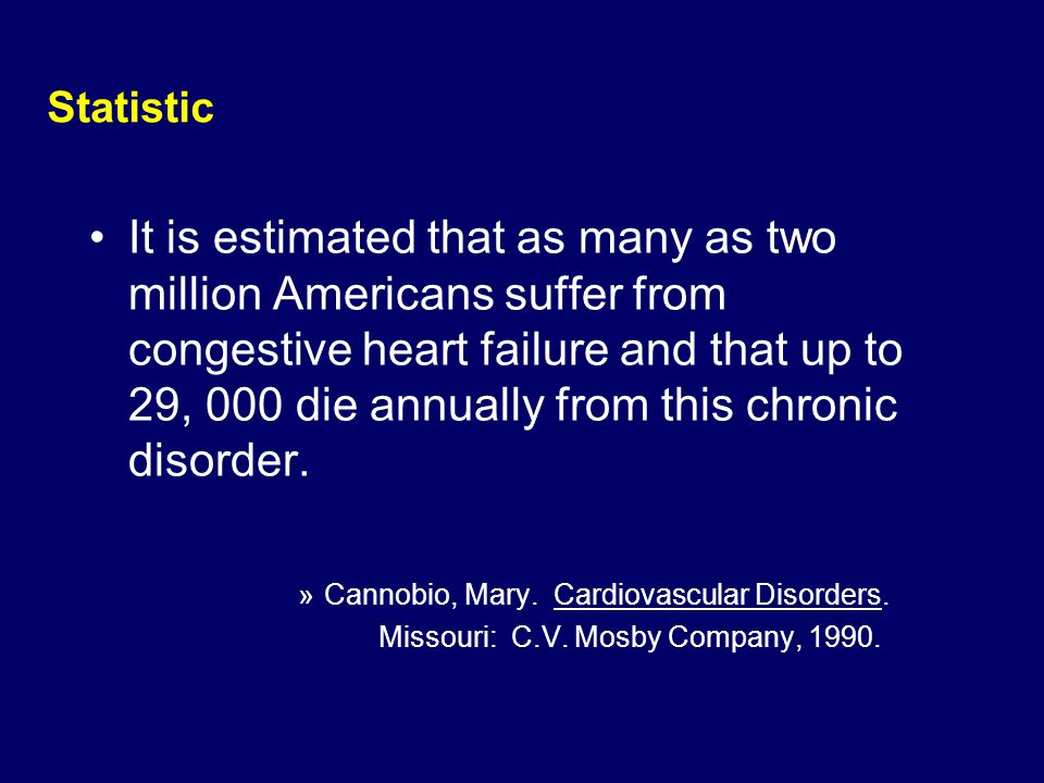 Statistic It is estimated that as many as two million Americans suffer from congestive heart failure and that up to 29, 000 die annually from this chr