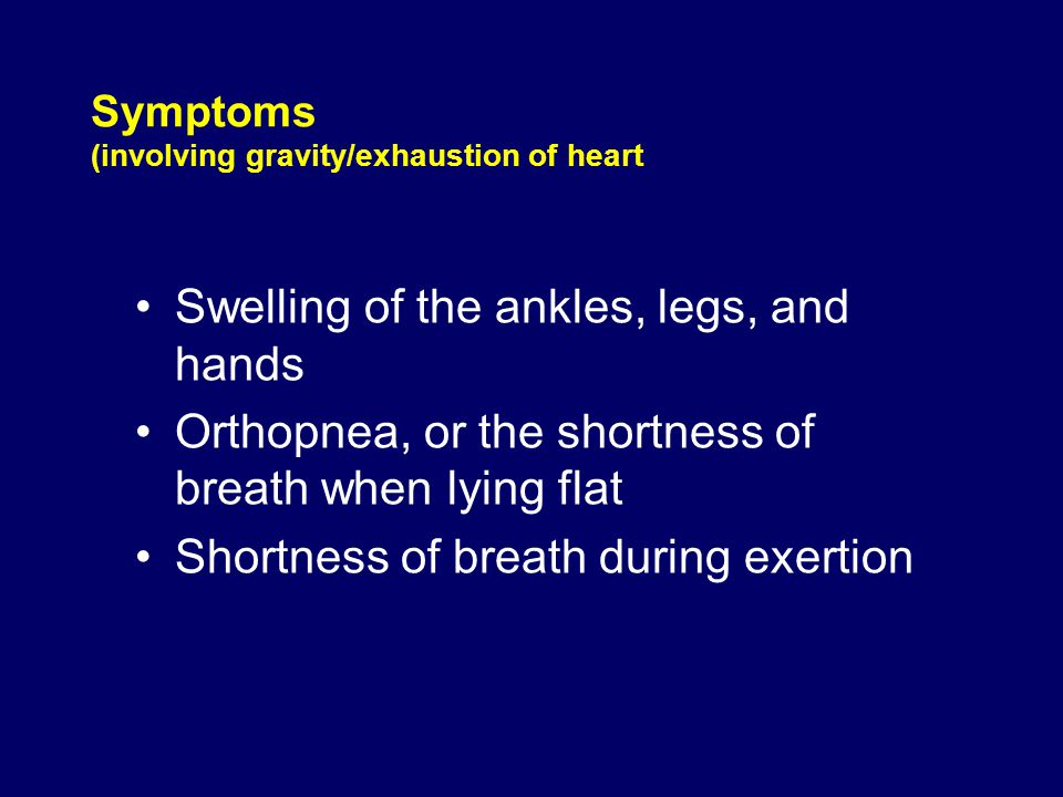 Symptoms (involving circulation) Cyanosis, or a bluish color that is seen in the lips and fingernails from a lack of oxygen Fatigue or weakness Rapid or irregular heart beat Changes of behavior such as restlessness, confusion, and decreased attention span