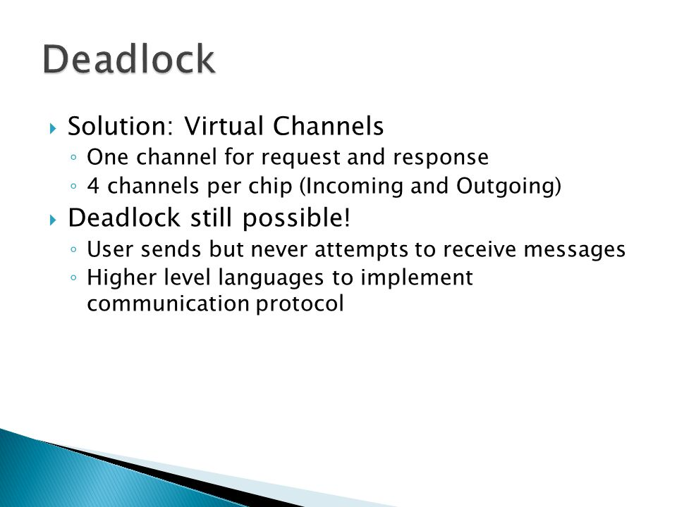  Solution: Virtual Channels ◦ One channel for request and response ◦ 4 channels per chip (Incoming and Outgoing)  Deadlock still possible.