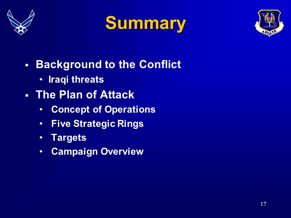 17 Summary  Background to the Conflict Iraqi threats  The Plan of Attack Concept of Operations Five Strategic Rings Targets Campaign Overview