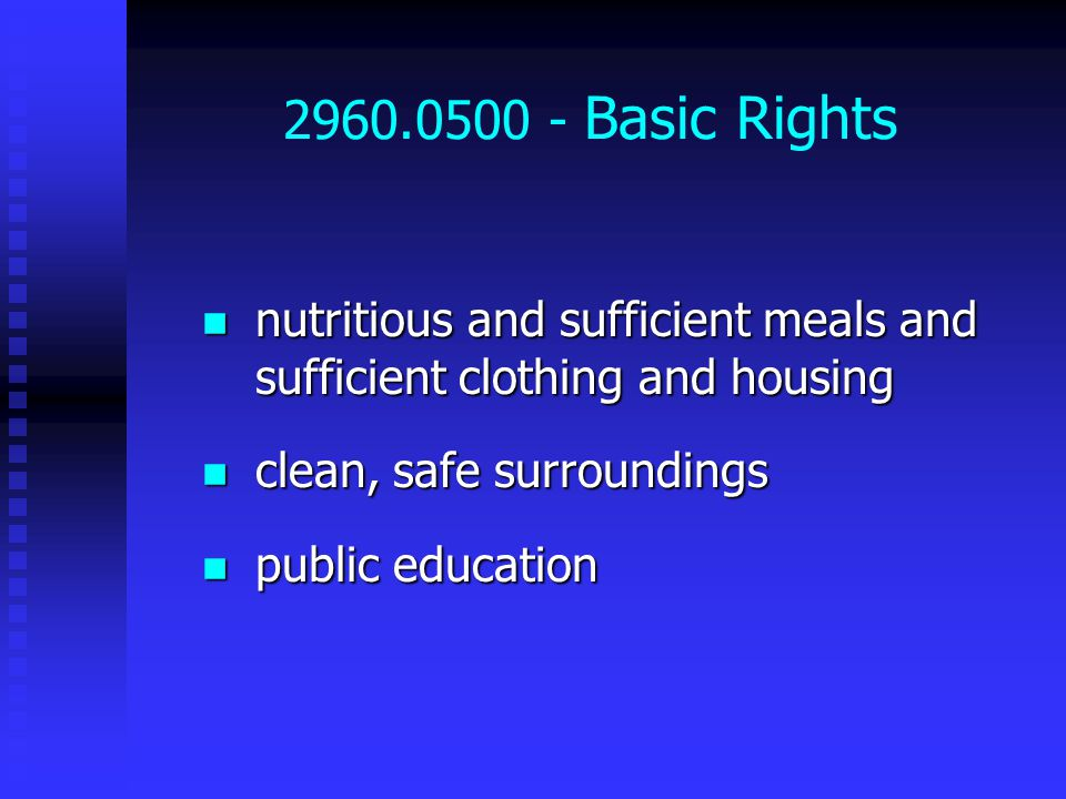 2960.0500 - Basic Rights nutritious and sufficient meals and sufficient clothing and housing nutritious and sufficient meals and sufficient clothing and housing clean, safe surroundings clean, safe surroundings public education public education