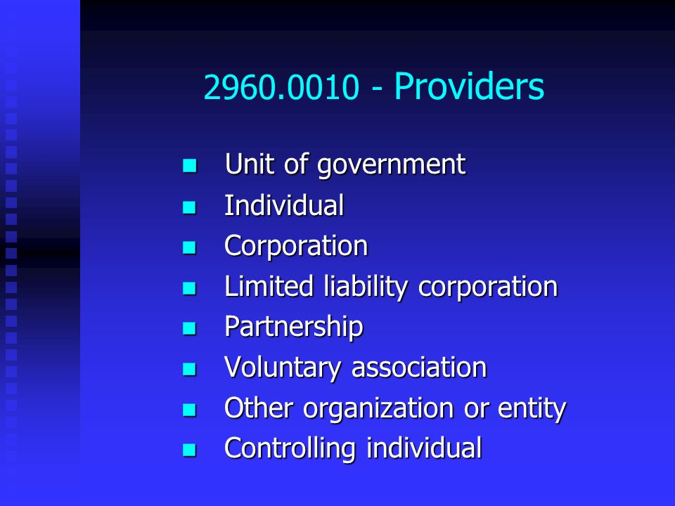 2960.0010 - Providers Unit of government Unit of government Individual Individual Corporation Corporation Limited liability corporation Limited liability corporation Partnership Partnership Voluntary association Voluntary association Other organization or entity Other organization or entity Controlling individual Controlling individual