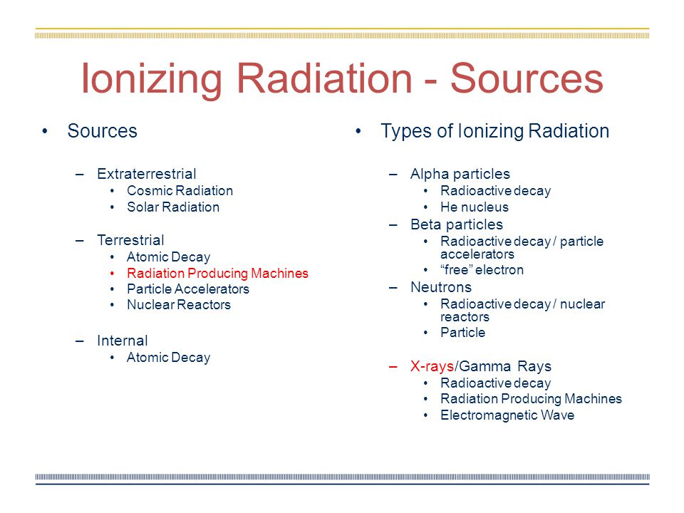Ionizing Radiation - Sources Sources –Extraterrestrial Cosmic Radiation Solar Radiation –Terrestrial Atomic Decay Radiation Producing Machines Particle Accelerators Nuclear Reactors –Internal Atomic Decay Types of Ionizing Radiation – Alpha particles Radioactive decay He nucleus – Beta particles Radioactive decay / particle accelerators free electron – Neutrons Radioactive decay / nuclear reactors Particle – X-rays/Gamma Rays Radioactive decay Radiation Producing Machines Electromagnetic Wave