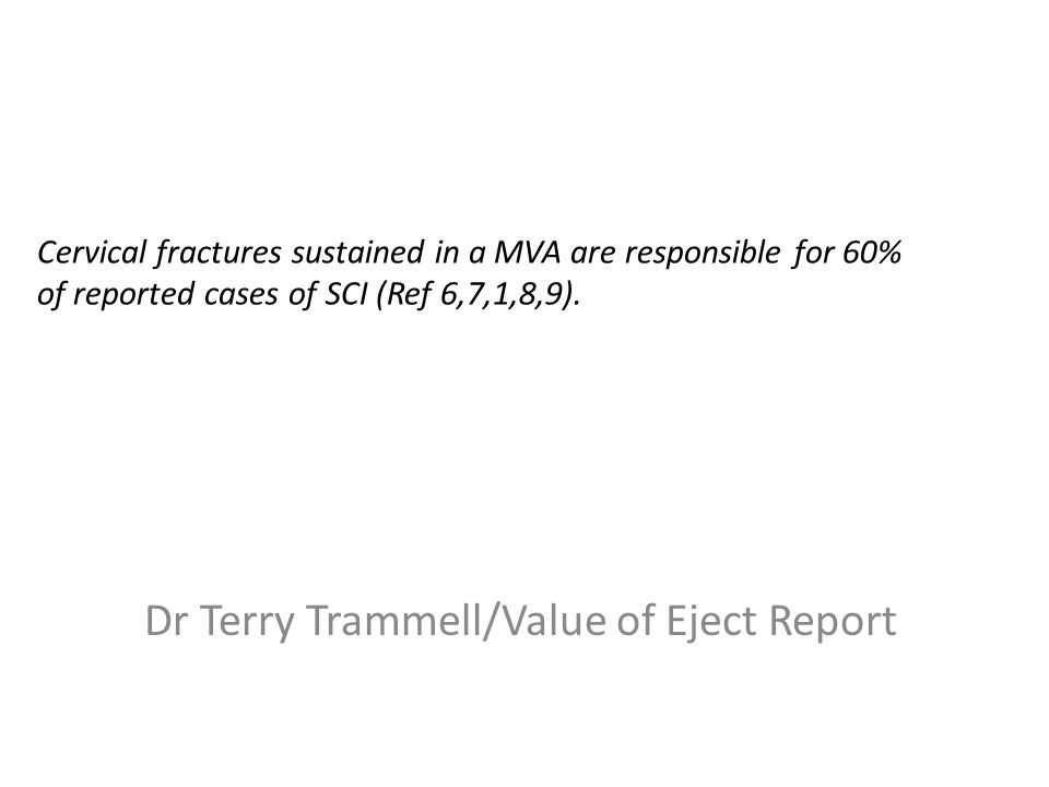 Cervical fractures sustained in a MVA are responsible for 60% of reported cases of SCI (Ref 6,7,1,8,9).