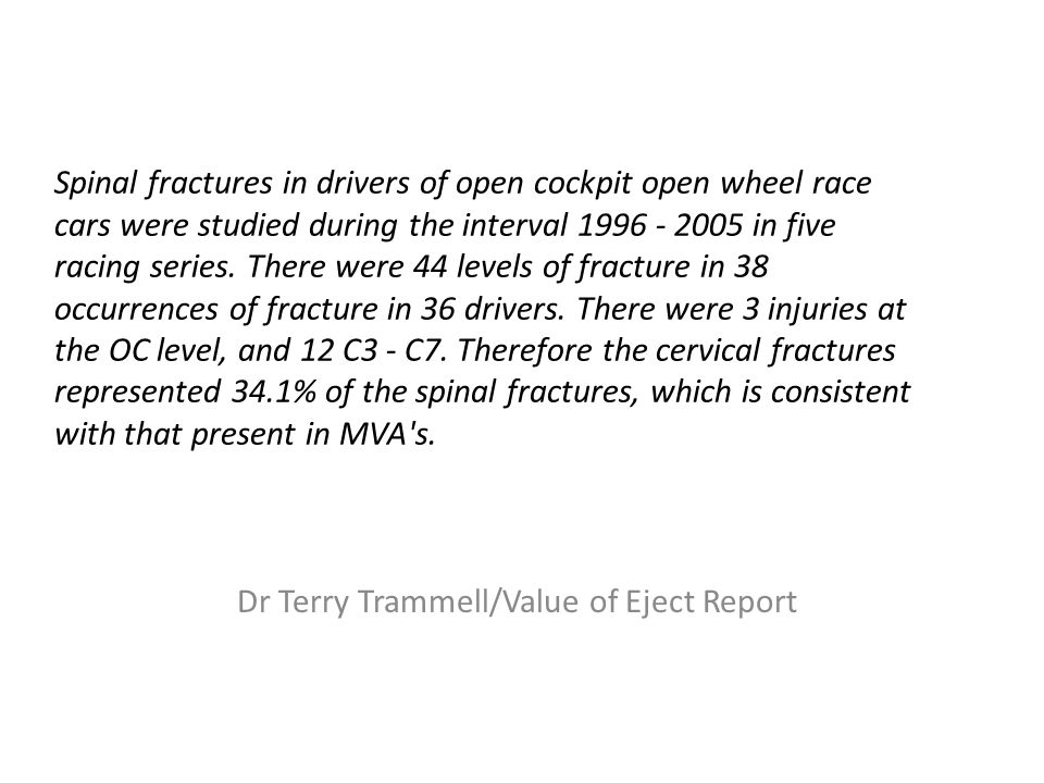 Spinal fractures in drivers of open cockpit open wheel race cars were studied during the interval 1996 - 2005 in five racing series.