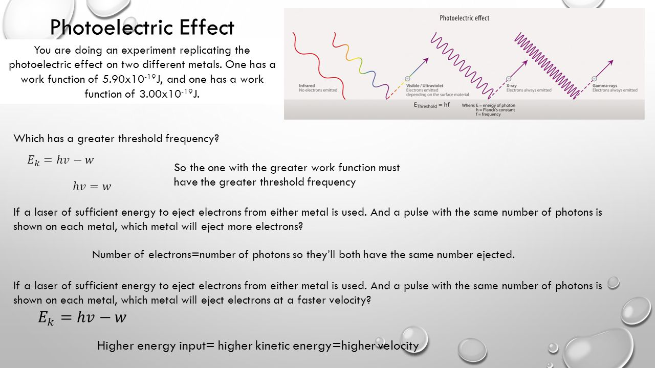 Photoelectric Effect Which has a greater threshold frequency? If a laser of sufficient energy to eject electrons from either metal is used. And a puls