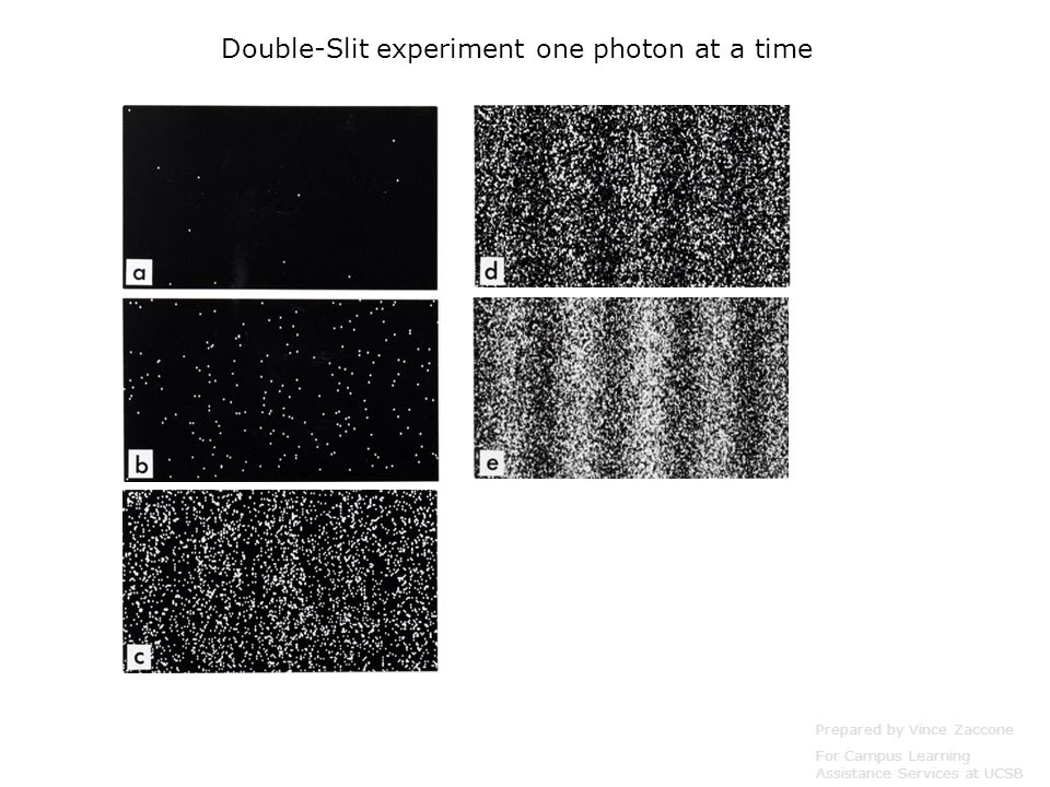 Prepared by Vince Zaccone For Campus Learning Assistance Services at UCSB Double-Slit experiment one photon at a time