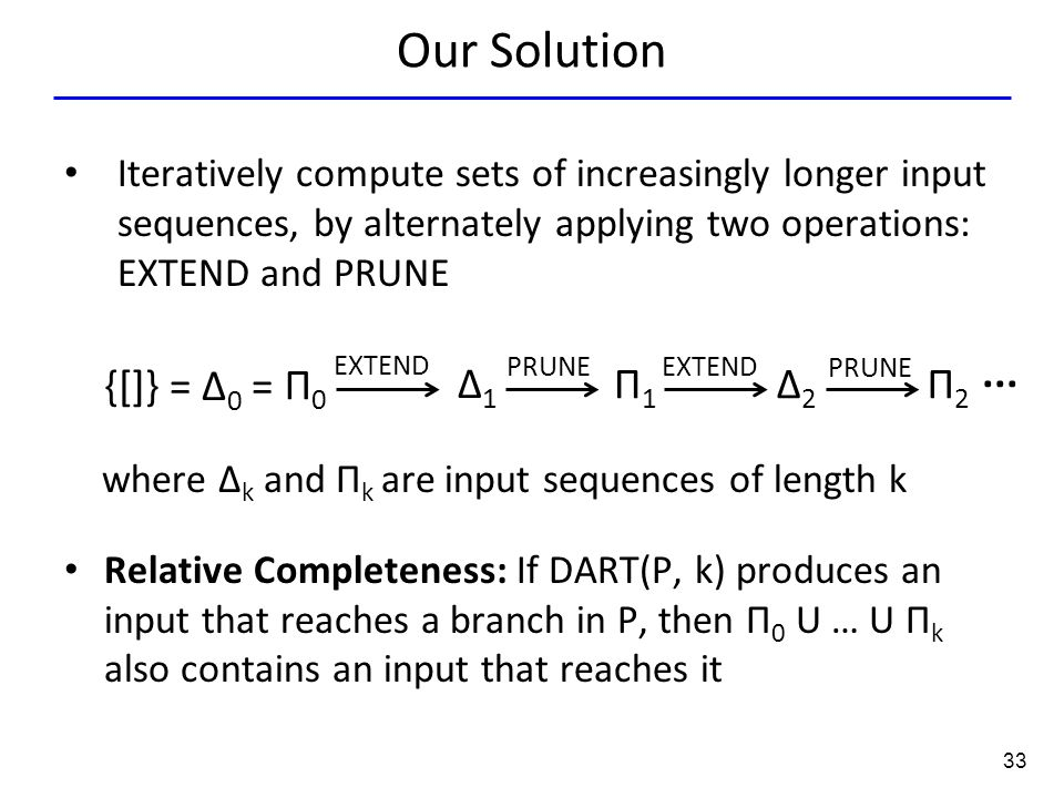 33 Our Solution Iteratively compute sets of increasingly longer input sequences, by alternately applying two operations: EXTEND and PRUNE {[]} = Δ 0 =