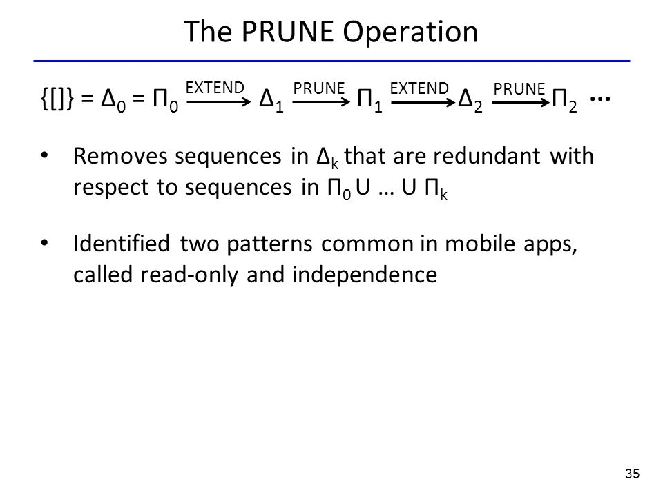 35 The PRUNE Operation {[]} = Δ 0 = Π 0 Δ 1 Π 1 Δ 2 Π 2 Removes sequences in Δ k that are redundant with respect to sequences in Π 0 U … U Π k Identif