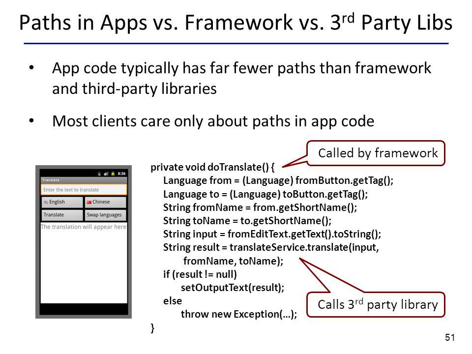 51 Paths in Apps vs. Framework vs.