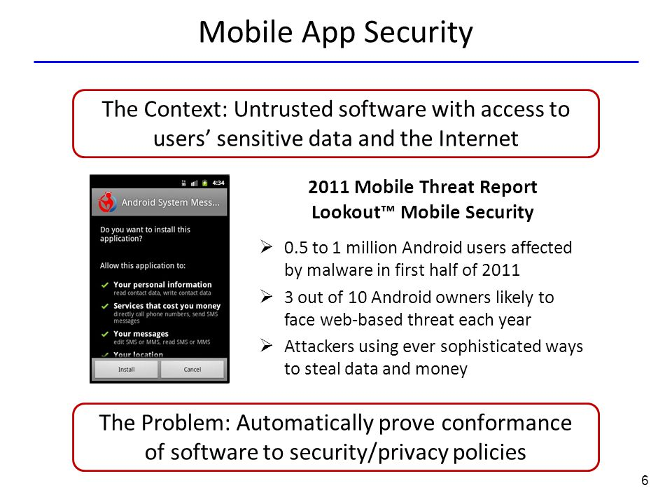6 Mobile App Security 2011 Mobile Threat Report Lookout™ Mobile Security  0.5 to 1 million Android users affected by malware in first half of 2011 