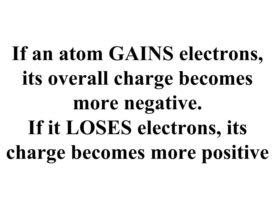 Positive Ions (cations) Negative Ions (anions) Na + (lost 1 e - ) Ca 2+ (lost 2 e - ) Al 3+ (lost 3 e - ) Pb 4+ (lost 4 e - ) H + (lost 1 e - ) Cl - (gain 1 e - ) O 2- (gain 2 e - ) P 3- (gain 3 e - ) S 2- (gain 2 e - ) OH - (gain 1 e - )