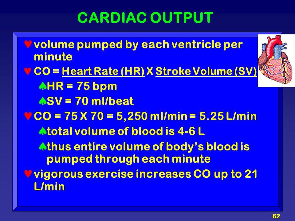 62 CARDIAC OUTPUT volume pumped by each ventricle per minute CO = Heart Rate (HR) X Stroke Volume (SV)  HR = 75 bpm  SV = 70 ml/beat CO = 75 X 70 =