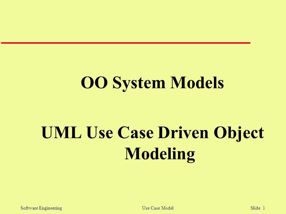 Software Engineering Use Case Model Slide 1 OO System Models UML Use Case Driven Object Modeling