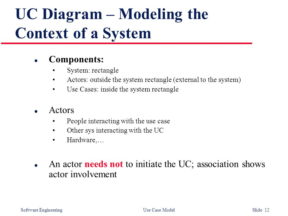 Software Engineering Use Case Model Slide 12 UC Diagram – Modeling the Context of a System l Components: System: rectangle Actors: outside the system rectangle (external to the system) Use Cases: inside the system rectangle l Actors People interacting with the use case Other sys interacting with the UC Hardware,… l An actor needs not to initiate the UC; association shows actor involvement