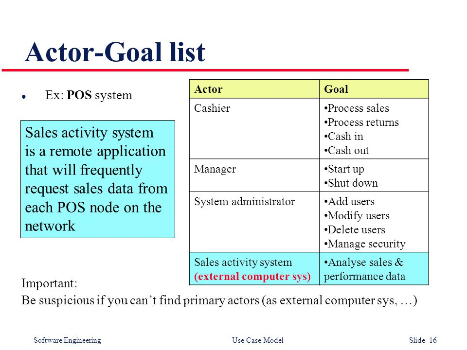 Software Engineering Use Case Model Slide 16 Actor-Goal list l Ex: POS system Important: Be suspicious if you can't find primary actors (as external computer sys, …) ActorGoal CashierProcess sales Process returns Cash in Cash out ManagerStart up Shut down System administratorAdd users Modify users Delete users Manage security Sales activity system (external computer sys) Analyse sales & performance data Sales activity system is a remote application that will frequently request sales data from each POS node on the network
