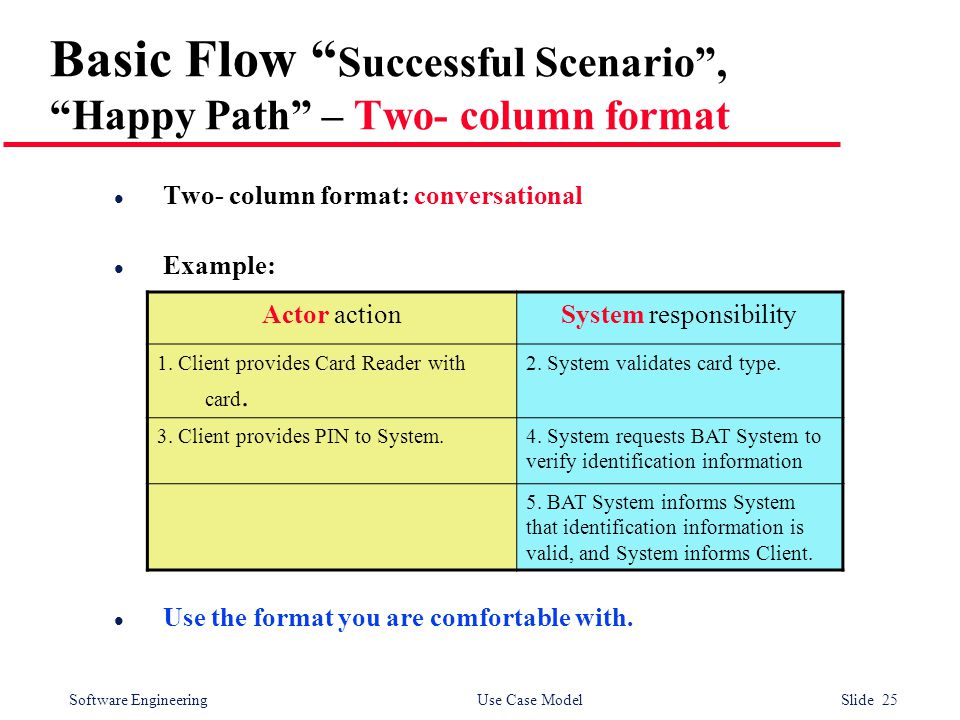 Software Engineering Use Case Model Slide 25 Basic Flow Successful Scenario , Happy Path – Two- column format l Two- column format: conversational l Example: l Use the format you are comfortable with.