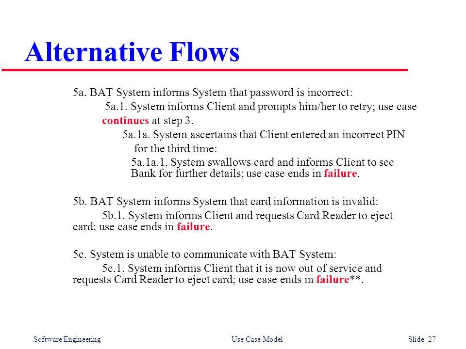 Software Engineering Use Case Model Slide 27 Alternative Flows 5a.