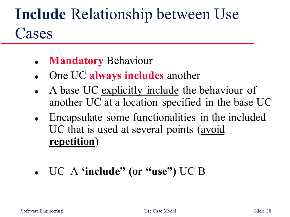 Software Engineering Use Case Model Slide 38 Include Relationship between Use Cases l Mandatory Behaviour l One UC always includes another l A base UC explicitly include the behaviour of another UC at a location specified in the base UC l Encapsulate some functionalities in the included UC that is used at several points (avoid repetition) l UC A 'include (or use ) UC B