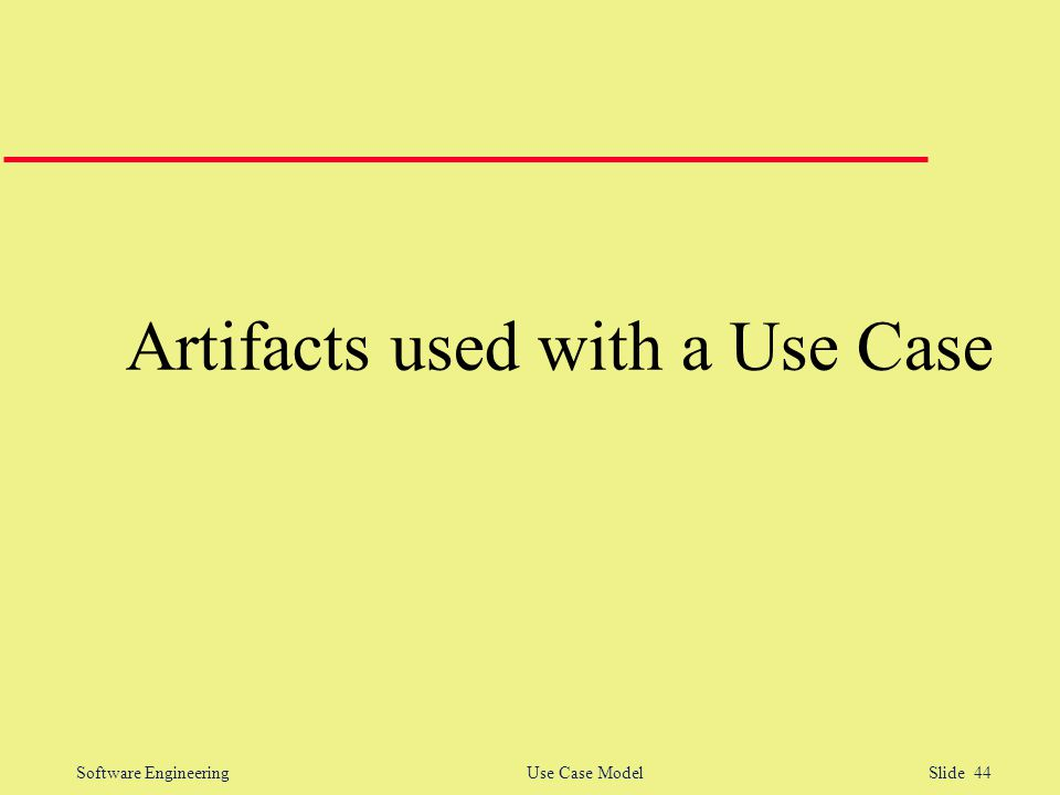 Software Engineering Use Case Model Slide 44 Artifacts used with a Use Case