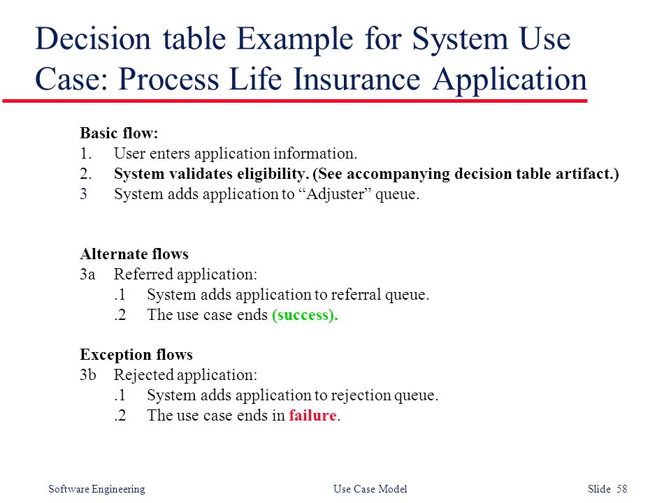 Software Engineering Use Case Model Slide 58 Decision table Example for System Use Case: Process Life Insurance Application Basic flow: 1.User enters application information.