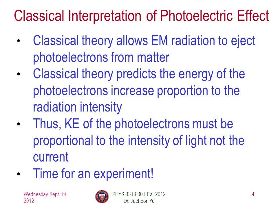Photoelectric Effect Experimental Setup Wednesday, Sept.