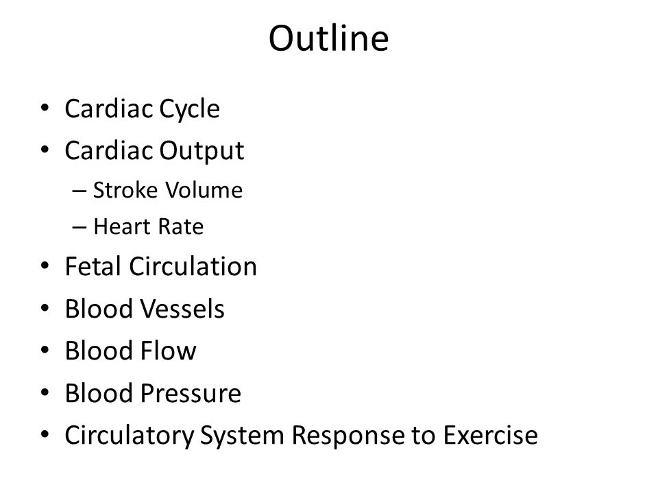 Outline Cardiac Cycle Cardiac Output – Stroke Volume – Heart Rate Fetal Circulation Blood Vessels Blood Flow Blood Pressure Circulatory System Response to Exercise