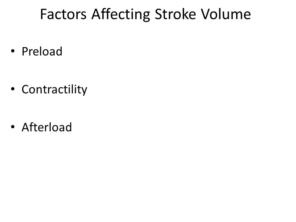 Factors Affecting Stroke Volume Preload Contractility Afterload