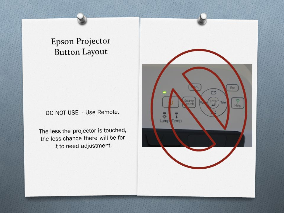 Epson Projector Button Layout DO NOT USE – Use Remote.