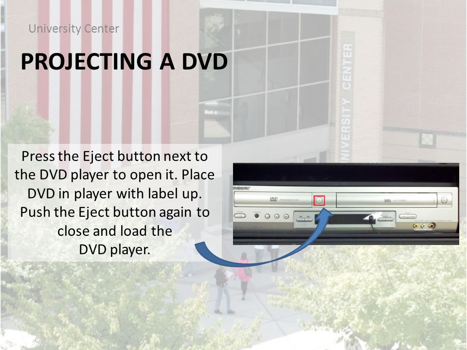 PROJECTING A DVD University Center Press the Eject button next to the DVD player to open it.