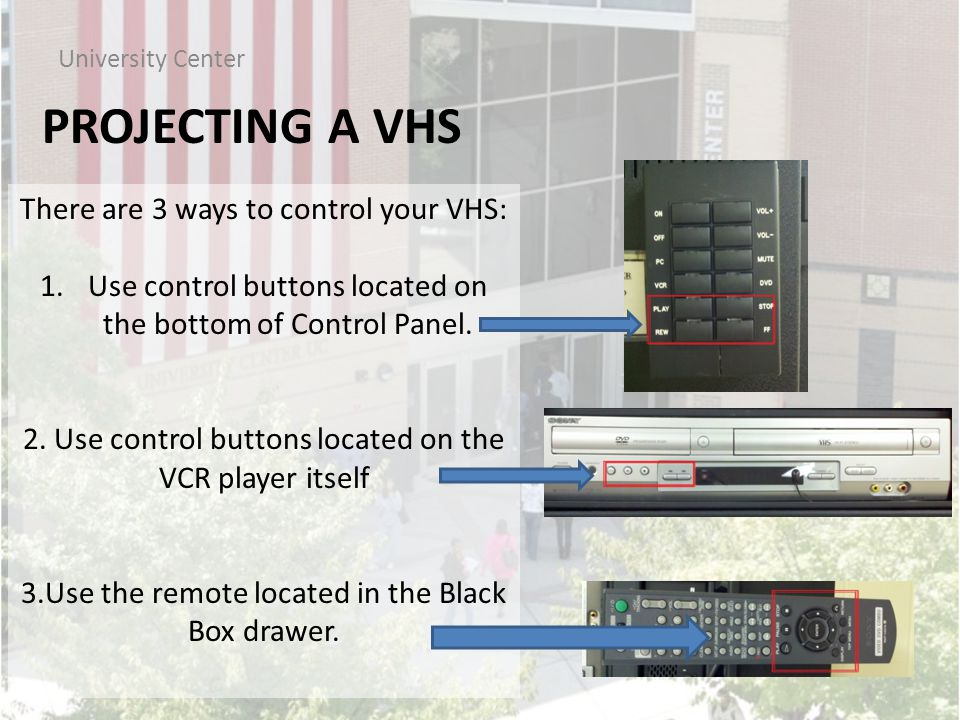 PROJECTING A VHS University Center There are 3 ways to control your VHS: 1.Use control buttons located on the bottom of Control Panel.