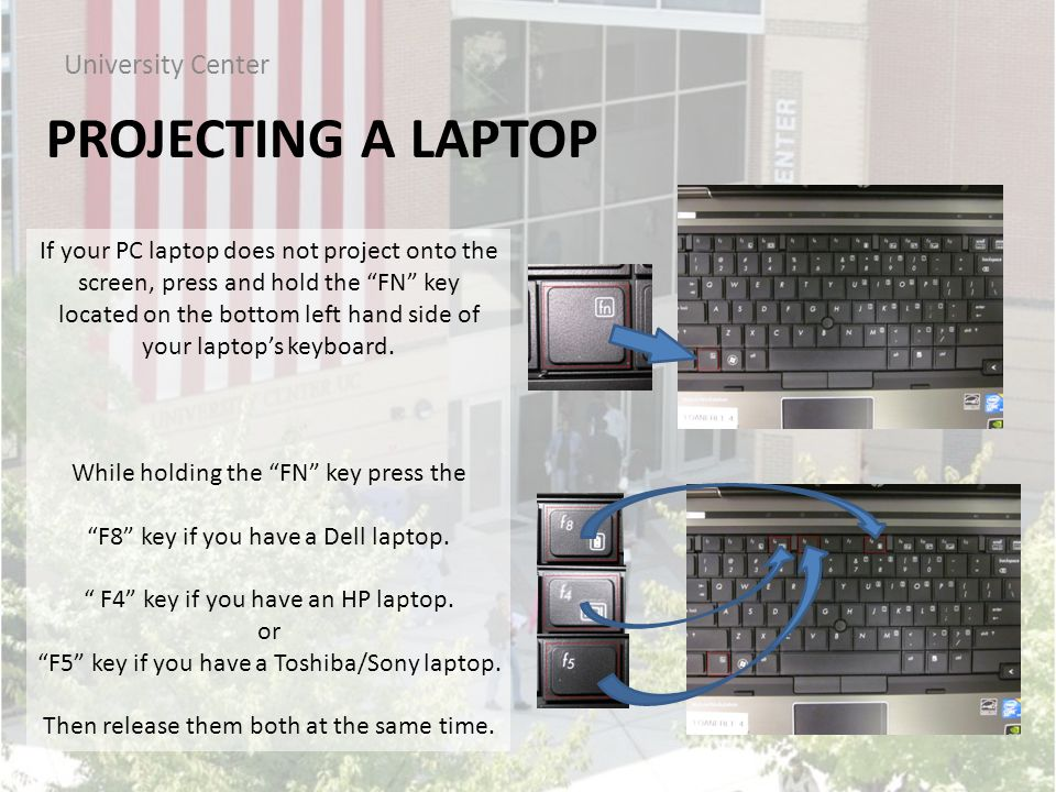 PROJECTING A LAPTOP University Center If your PC laptop does not project onto the screen, press and hold the FN key located on the bottom left hand side of your laptop's keyboard.