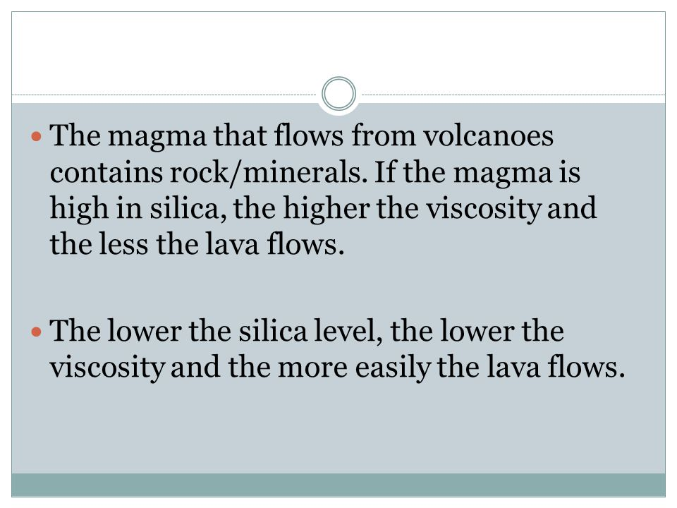 The magma that flows from volcanoes contains rock/minerals.