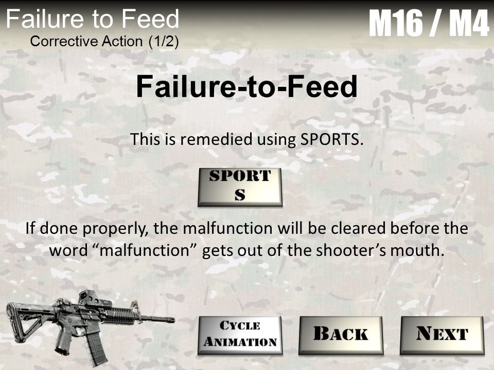 """M16 / M4 Failure to Feed Corrective Action (1/2) This is remedied using SPORTS. If done properly, the malfunction will be cleared before the word """"mal"""