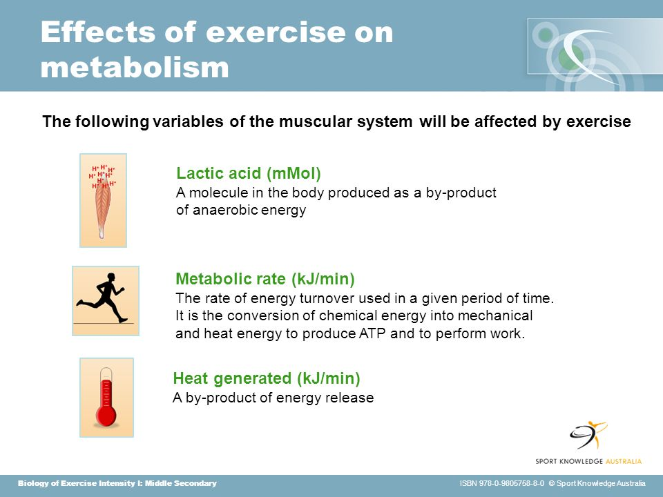 Biology of Exercise Intensity I: Middle Secondary ISBN 978-0-9805758-8-0 © Sport Knowledge Australia Effects of exercise on metabolism Heat generated (kJ/min) A by-product of energy release Metabolic rate (kJ/min) The rate of energy turnover used in a given period of time.