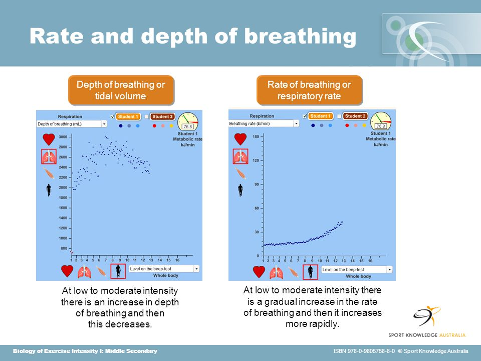 Biology of Exercise Intensity I: Middle Secondary ISBN 978-0-9805758-8-0 © Sport Knowledge Australia Rate and depth of breathing At low to moderate intensity there is an increase in depth of breathing and then this decreases.